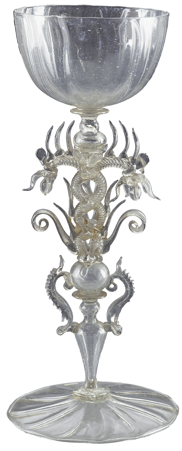 elaborate clear glass goblet