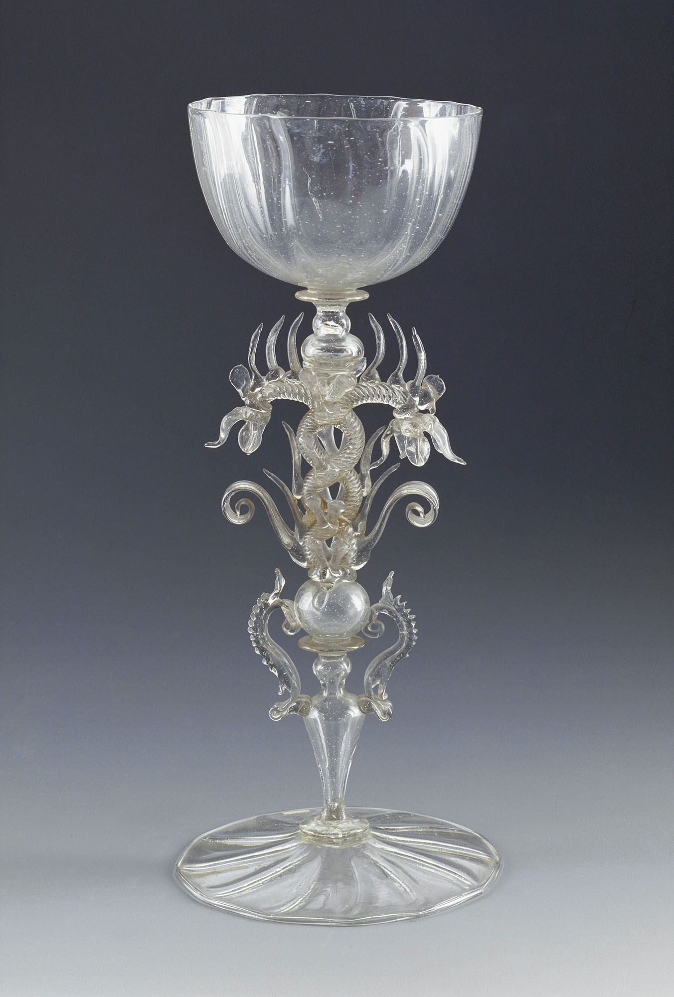 Glass chalice with twisted, serpent-shaped stem