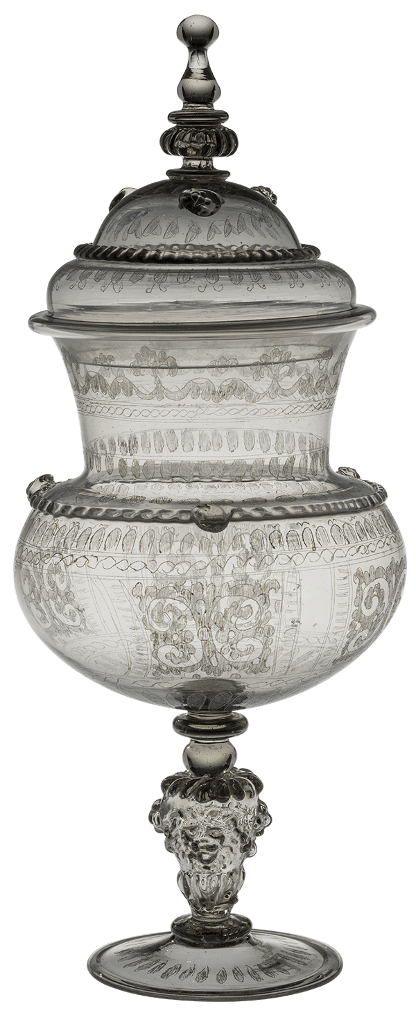 clear lidded vessel, etched