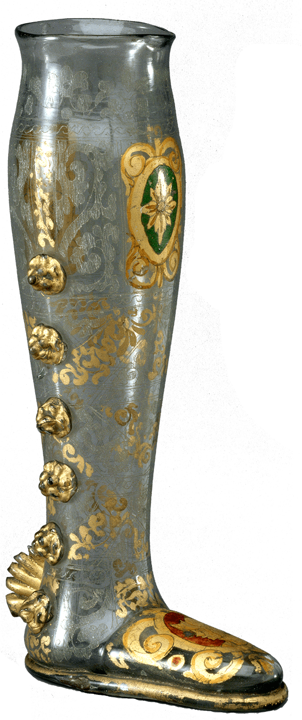 boot-shaped clear vessel with gold decoration