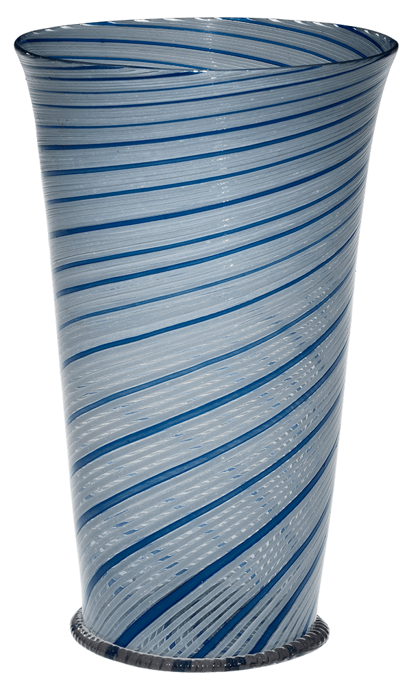 twisted striped blue and white vessel