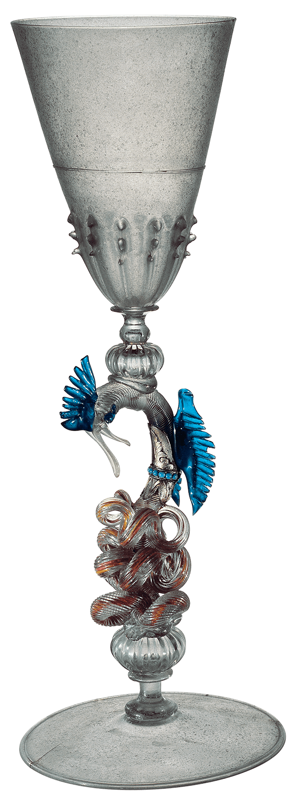 elaborate goblet with colored glass dragon in stem