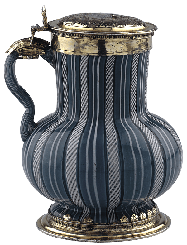 glass pot with stripes and hinged brass lid