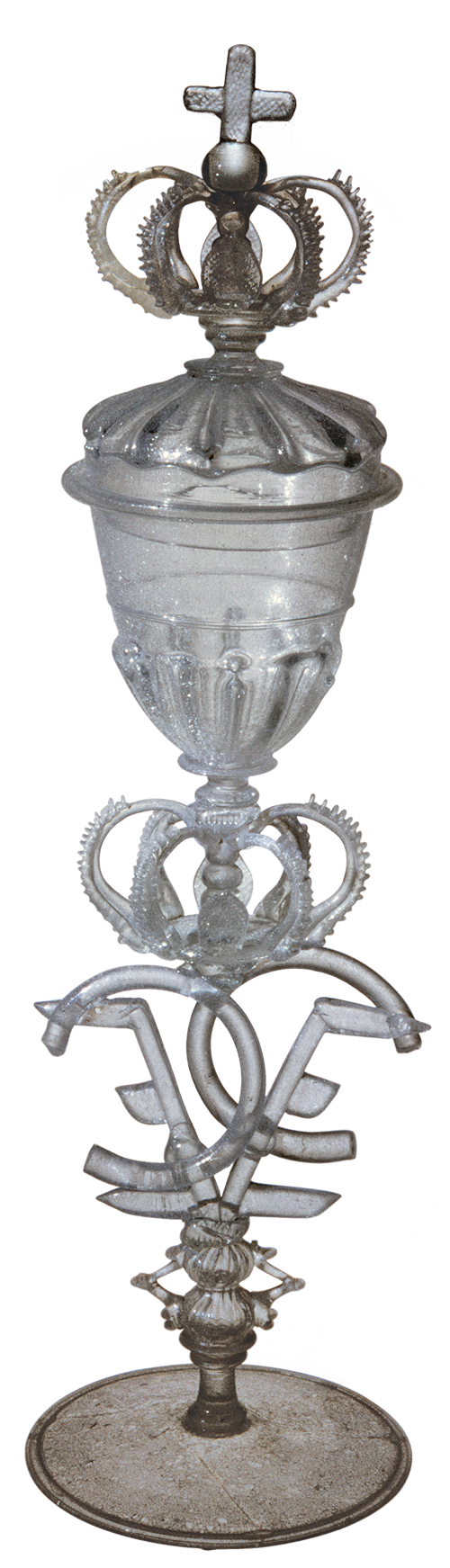 elaborate clear glass covered goblet with crown design