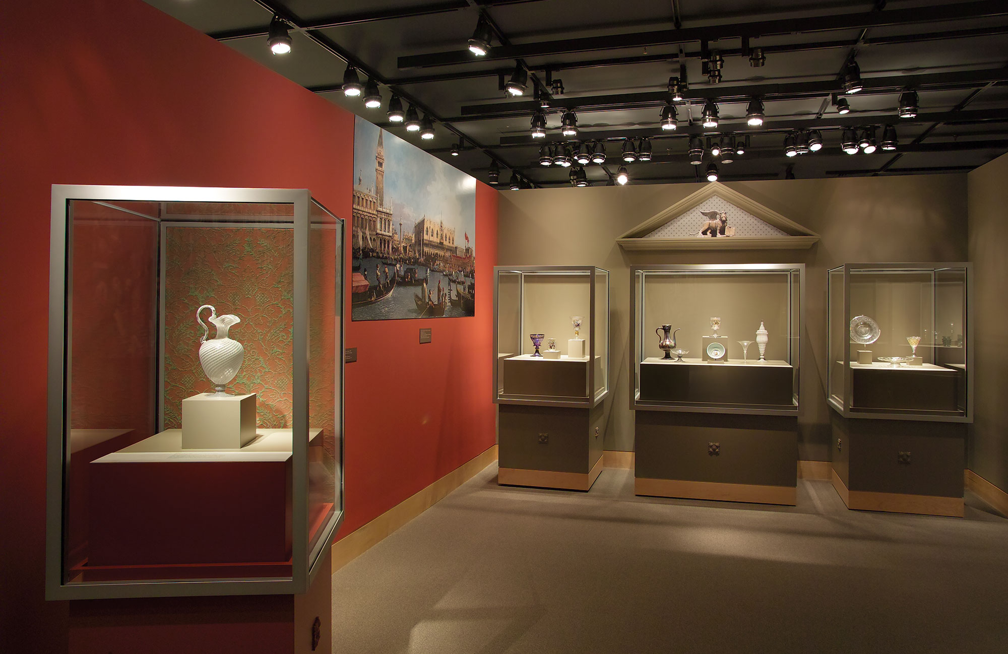 Venice section of the Beyond Venice exhibition showing three object cases