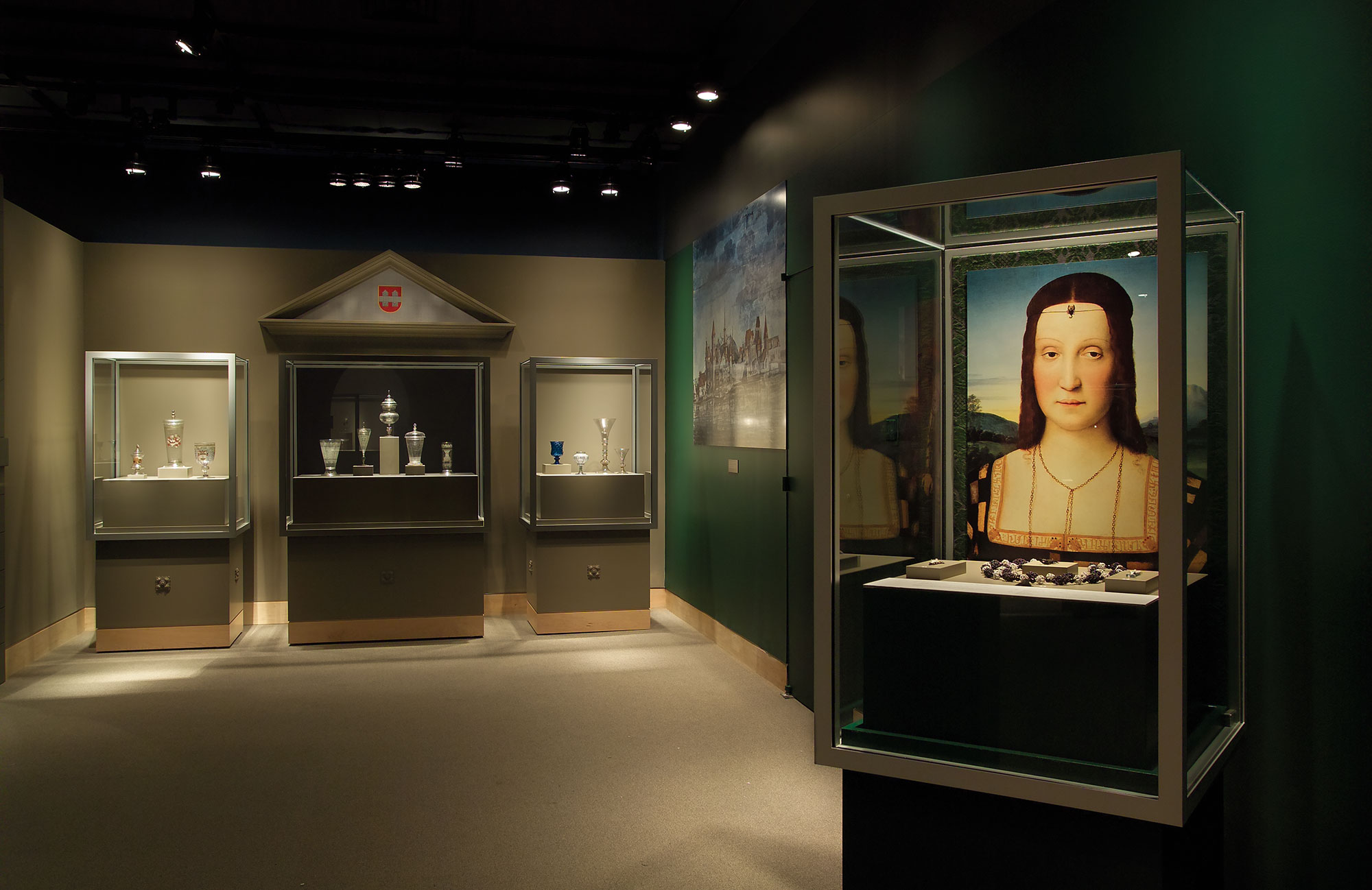 Austria area of Beyond Venice exhibition showing four object cases