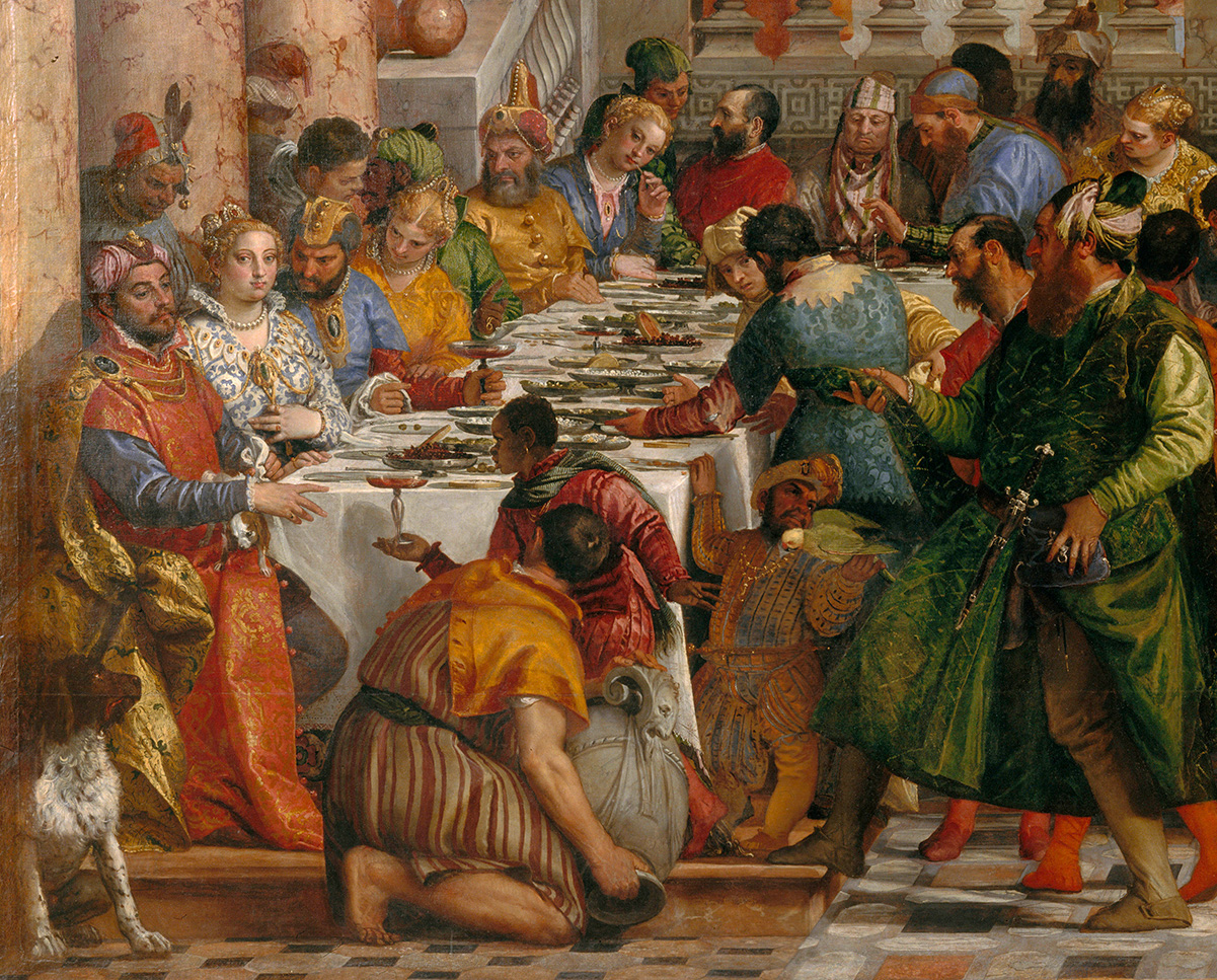 Detail of painting depicting huge wedding feast. Detail highlights glass vessel