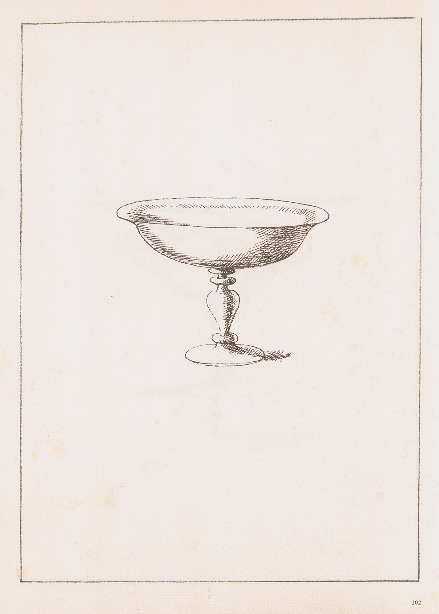 Black and white sketch of a tazza