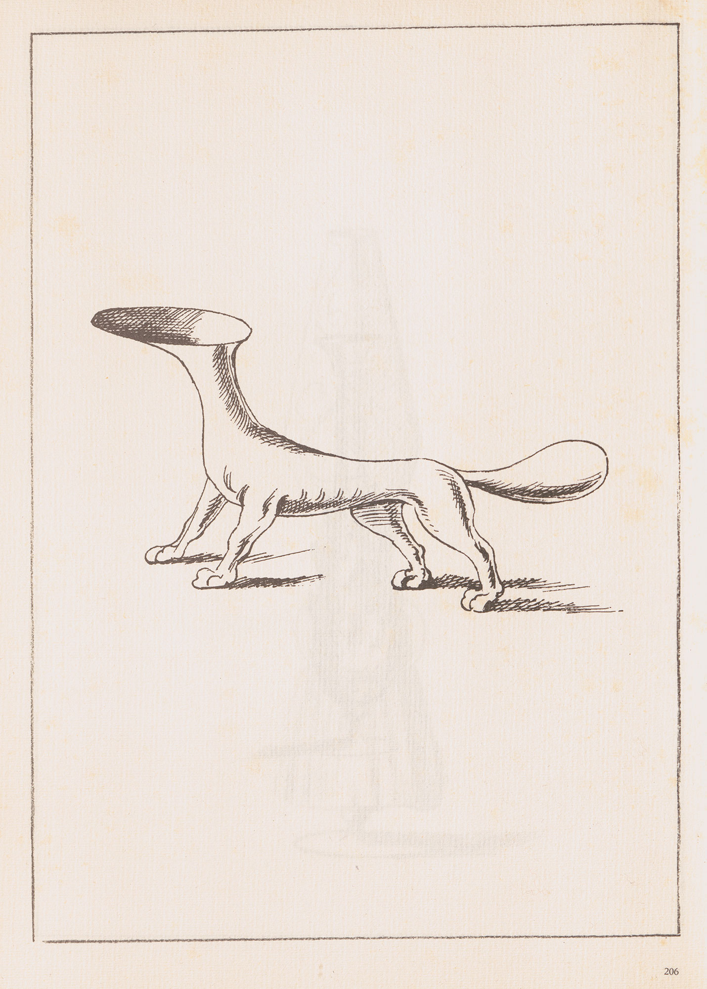 Black and white sketch of a vessel shaped like a standing dog with the bowl for its head