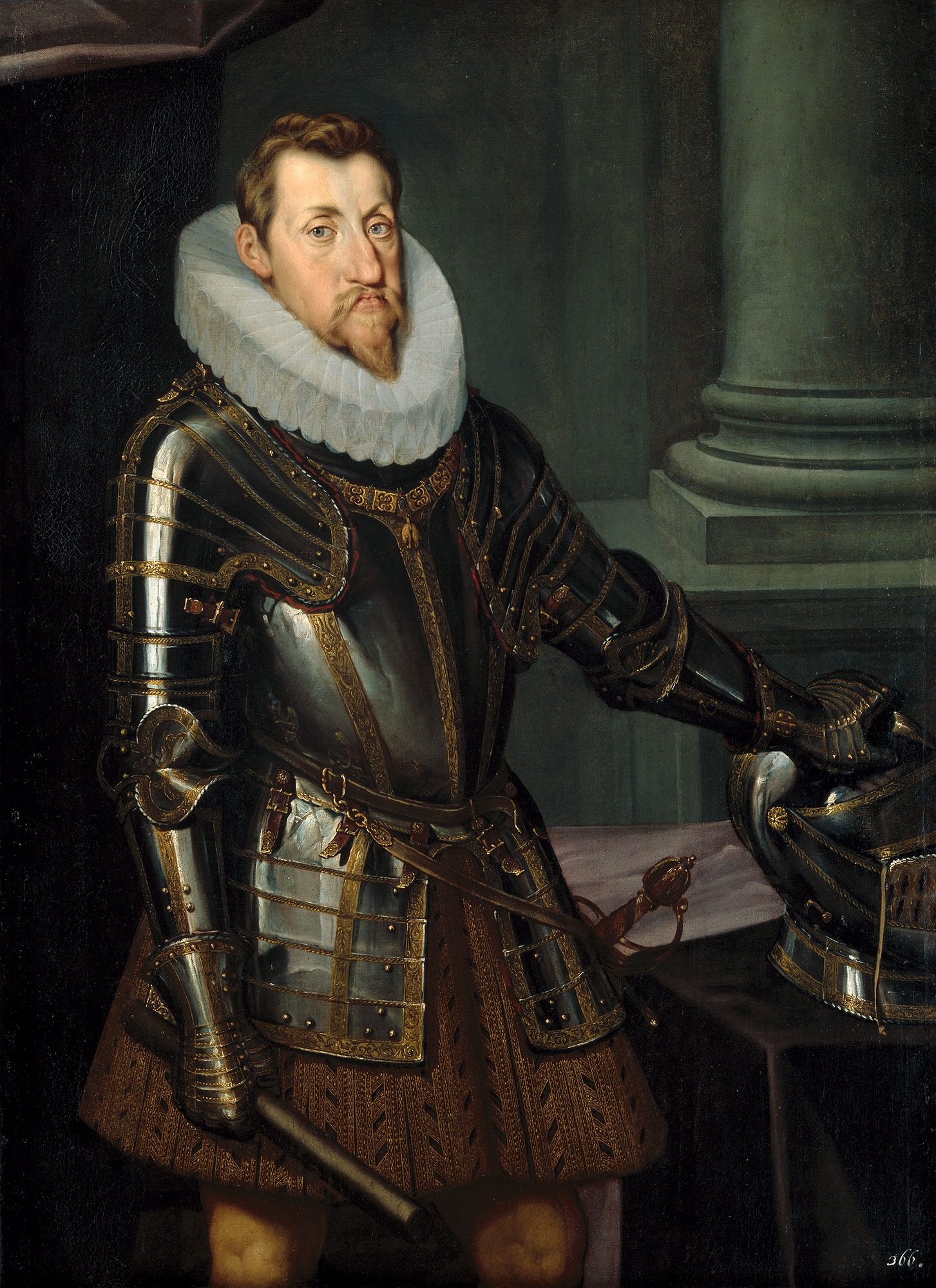 Painting of Ferdiand II wearing a suit of armor