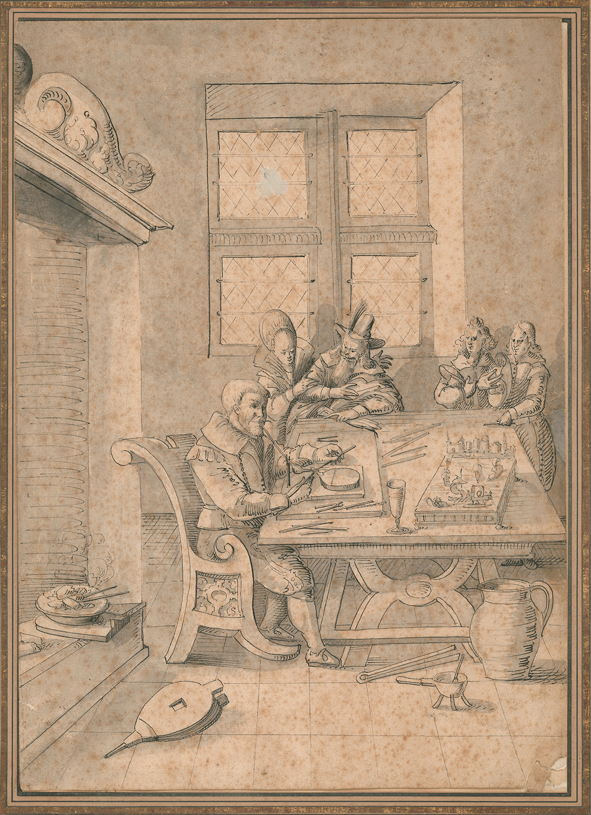 Engraving showing a man (belived to be Duke Ferdinand) flameworking as four others watch
