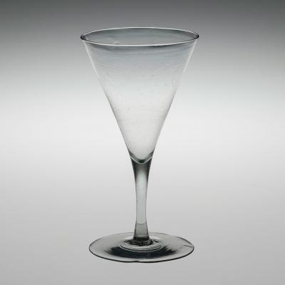 Clear glass goblet with straight stem and cone-shaped bowl